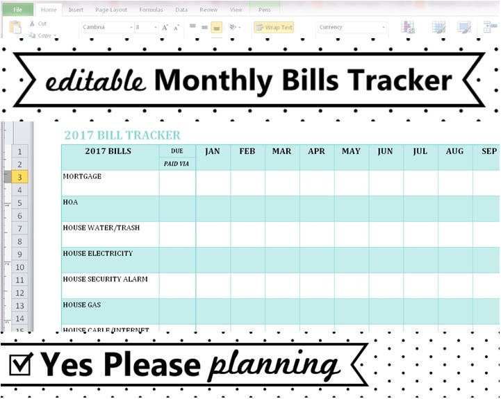 Household bill tracker monthly bills spreadsheet bill for Monthly bill spreadsheet template free
