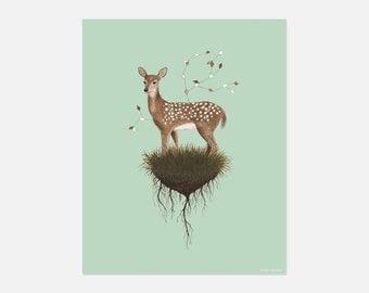 Deer Watercolor Painting Print, Woodland Nursery, Deer Art, Wall Art, Art Print, Decorative Wall Art, Deer Art, Home and Decor