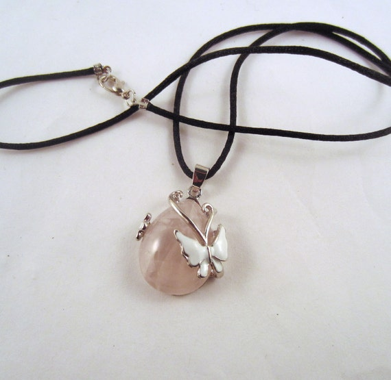 Butterfly Pendant Necklace Rose Quartz  Natural Crystal Pendant, Stone Jewelry