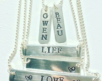 Necklace with name or quote, handmade