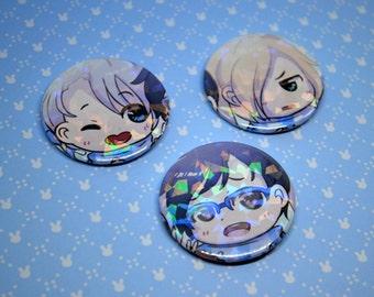 Holographic Yuri!!! on Ice Badges Pin Buttons Handmade Fan Art Anime Victor Yuuri Yurio Yuri