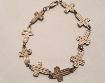Now on SALE was 18.00 Now sale price 12.00 Sterling Silver Cross Bracelet 925