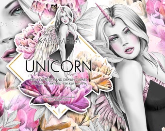 Unicorn Clipart, Fashion Clipart Fairy Tale Unicorn Girl Fashion Illustrations Watercolor Peonies Angel Wings Planner Stickers Supplies DIY
