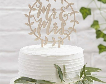 Wooden Mr and Mrs Decorative Vines Wedding Cake Topper