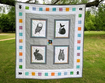 Baby Quilt  - Thicket Quilt - Forest Creatures