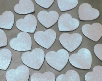 50 Pcs, White Pearl, Leather Hearts, Leather Hearts Die Cut, Hearts Decoration, DIY Projects.