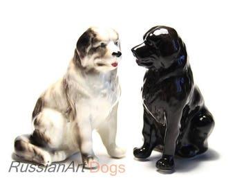 Newfoundland, Landseer dog porcelain figurine handmade statuette