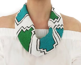Mercer Beaded Scarf Necklace in Green/Turquoise/White