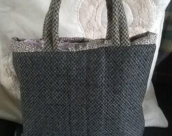 Grey Tweed Handbag