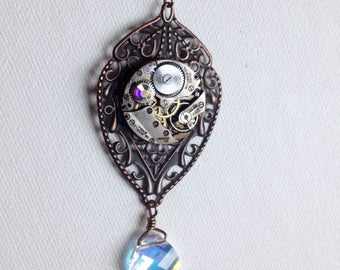 Iridescent crysal and copper steampunk filigree necklace