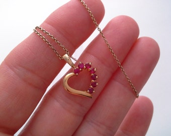 Vintage Heart Necklace, Red Stone Heart, Red Stone Necklace, Gold Filled 925, RSE Italy Necklace, Faux Ruby Heart, Ruby Heart Necklace