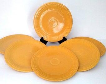 "Fiesta Yellow 9-3/8"" Dinner Plate - Marked Genuine Fiesta HLO USA, Vintage, Qty. 6"