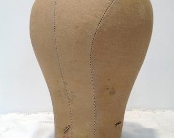 Vintage Milliner's Head Form, Millinery Cloth, Mannequin Head, Hat Wig Maker Form Size 22, Vintage