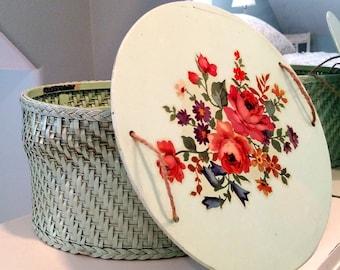 Vintage Mint Green Harvey Sewing Basket