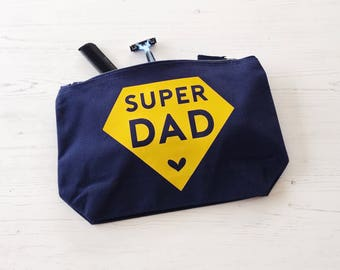 Super Dad Wash Bag, Father's Day Gift, gifts for men, mens wash bag, gift for Dad, toiletry bag, grooming kit, wash bag, gift for man