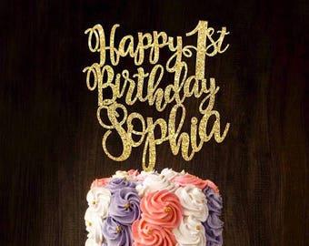 Custom cake topper, gold cake topper, birthday cake topper