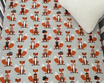 Fitted Cot Sheet // Standard Size Cot // 100% Cotton // Baby Bedding // Mr Fox // Orange // Grey