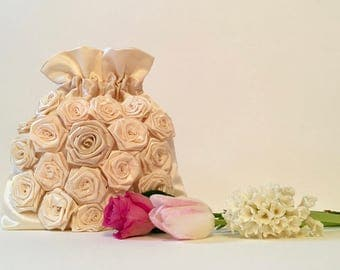 Wedding bag, bridal bag, flower girl bag, ivory satin pouch with handmade roses, hand made bag, bridesmaids bag, wedding gift, evening bag