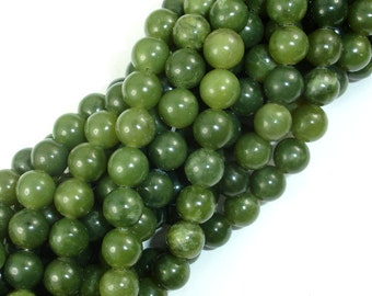 Canadian Jade Beads, 8mm Round Beads, 15.5 Inch, Full strand, Approx 49 beads, Hole 1mm, A quality (179054001)