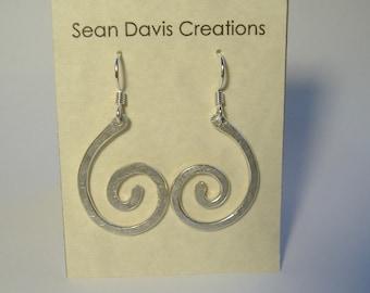 Sterling Silver Spiral Earrings E-25 (lg)