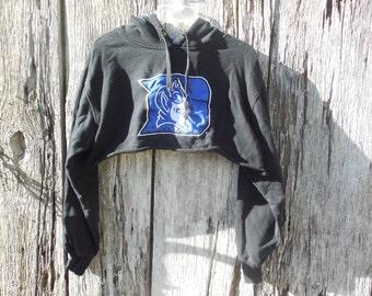 One of a kind custom cut off Duke Blue Devils hoodie crop top sweatshirt medium black blue hipster street wear urban style fashion college