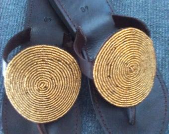 24K - Handmade Real Leather Beaded Kenyan Sandals, Thongs, Slippers, Flip Flops