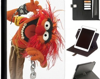 Muppet Animal Apple ipad 360 swivel i pad leather case cover with card slots