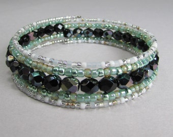 Memory wire bracelet in shades of  black, light green and white, memory wire beaded wrap bracelet, Free Shipping!