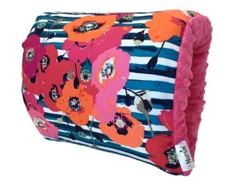 Uptown Girl Nursie/Floral and Stipe Arm Nursing Pillow/ Breastfeeding Pillow/ Nursing Arm Pillow/ Support Pillow/ Travel Pillow