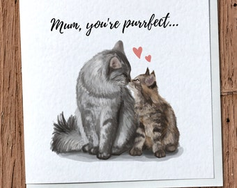 Cat & Kitten Greetings Card - Mother's Day