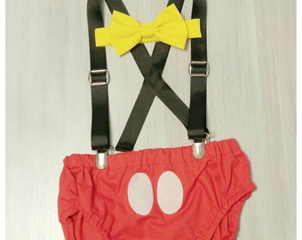Mickey Mouse Cake Smash Set/Suspeners/Bowtie/Birthday Set / Baby Shower Gift / Photo Shoot/ cake smash