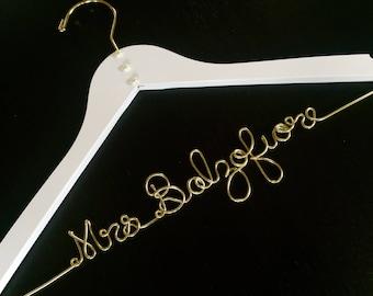 Wedding dress hanger, personalized name hanger, mrs hanger