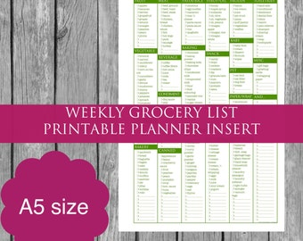 A5 Weekly Grocery Shopping List Printable Planner Insert