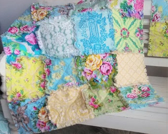 Pretty Pastel Reversible Patchwork Rag Quilt Jennifer Paganelli  Colorful Rose Floral Prints Yellow Green Blue Pink Ready to Ship Baby Quilt