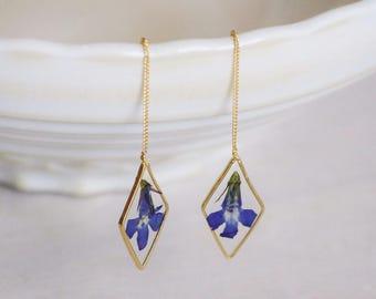 Real lobelia earrings Geometrical earrings Resin earrings Pressed blue flower Lobelia earrings Minimalist earrings chain pressed flowers