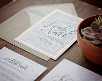 DEPOSIT ONLY // Marble Foil Wedding Invitation Suite // Calligraphy // Hand-lettered // Copper Foil // Gold Foil