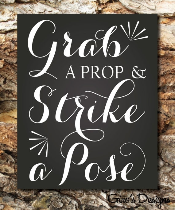 Photo Booth Sign Printable Wedding, Grab a Prop Sign, Printable Wedding Party Sign, chalkboard, Party Instant Download Ready To Print
