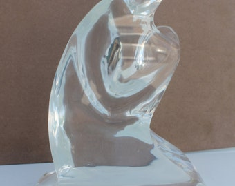 Mom Carrying  Son Vintage Abstract Lucite Sculpture.