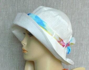 Linen hat, summer hat, women's hat, Oeko Tex, ecru hat
