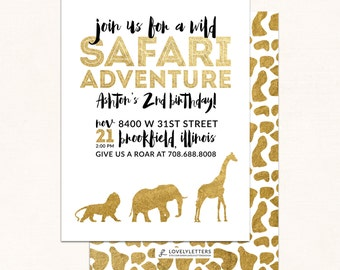 Golden Safari Birthday Invitation / Go Wild Birthday Invitation / Safari Invitation / Golden Safari Birthday / Digital Invite / Zoo Birthday