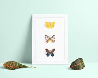 The butterfly series part 5 - Digital Download - A3 and A4 poster - A (Flat) illustration of butterflies. Print it yourself.