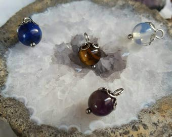 Natural Stone Charms 8mm (Addition to Pendants) Thoughtfullkeepsakes Shop | Amethyst, Moonstone, Lapis, Tigers Eye