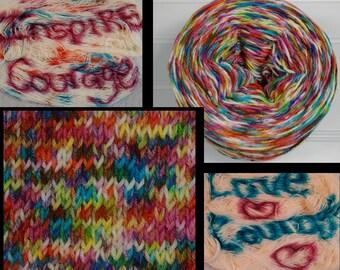 Hidden Messages Hand Dyed Yarn, Merino 8 ply, Nylon SW, Squishy Sock Yarn,430 yards