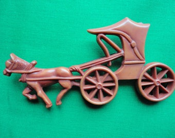 Early Plastic Horse & Buggy Brooch