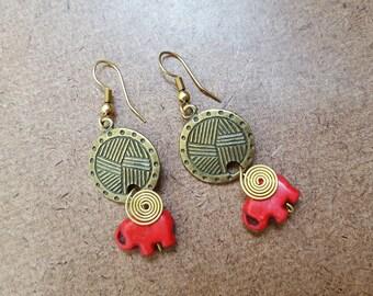 FREE SHIPPING, Turquoise Earring, Elephant earring, Hippie earring, Boho earring, Brass earring