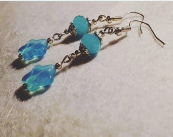 Turquoise and antique silver star earrings