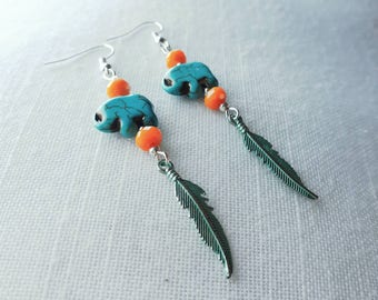 Bohemian earrings turquoise elephant