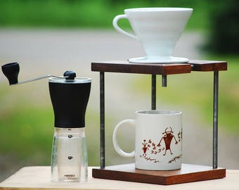 Faux Leg Coffee Pour Over, Coffee Pour Over Stand, Hario v60 Pour Over, Black Walnut Pour Over,
