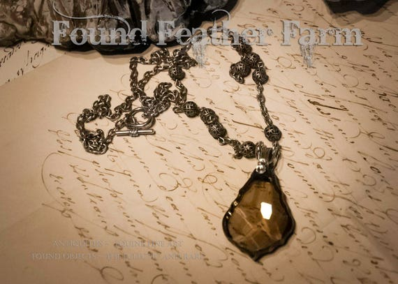 Handmade Vintage Topaz Teardrop Crystal Pendant with Silver Victorian Bail and a Handmade Bead Necklace Chain