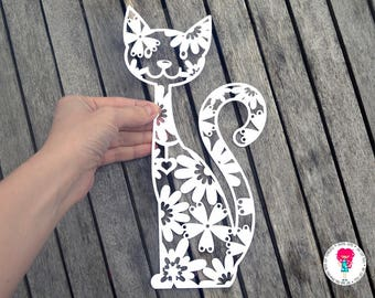 Cat paper cut SVG / DXF / EPS files and a printable template for hand cutting. Digital download. Commercial use ok
